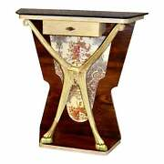 Unique Art Deco Style Marble Top Wall Console W/fabric Insert
