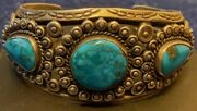 Exquisite Navajo Attr Fred Peshlakai Bracelet Natural Turquoise Hand Made Early