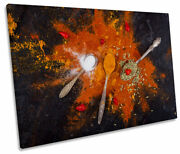 Kitchen Spices Spoons Orange Print Single Canvas Wall Art Picture