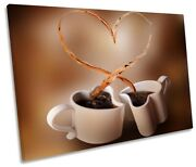 Brown Coffee Cups Heart Print Single Canvas Wall Art Picture