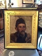 19th Century Unsigned Oil On Canvas Middle Eastern Man With Fez Victorian