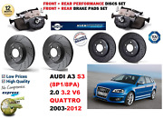 For Audi A3 S3 2003-2012 Front Rear Performance Drilled Brake Discs + Pads Kit