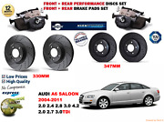For Audi A6 Berlina 04-11 Front Rear Performance Drilled Brake Discs + Pads Kit