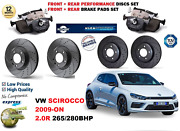 For Vw Scirocco 2.0r 09-on Front Rear Performance Drilled Brake Discs + Pads Kit