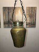 Rare Antique Copper Urn Vessel Pot Dovetail Hand Hammered Forged Handles