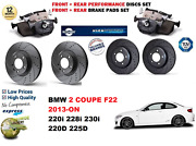 For Bmw 2 F22 Coupe 12-on Front Rear Performance Drilled Brake Discs + Pads Kit