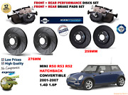 For Mini Cooper S R50 R53 02- Front And Rear Performance Brake Discs Set + Pad Kit