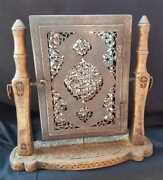 Rare Ottoman Mirror On Metal Frame With Silver Inlay Having Islamic Calligraphy