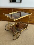 Laquered Goat Skin / Brass Accent Bar Cart Designed By Aldo Tura Italy Signed