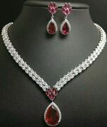 925 Sterling Silver Pink Pear Drop Necklace With Matching Earrings All Studded