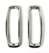 Pair Polished Stainless Steel Tail Light Bezels For 1964-77 Ford Bronco