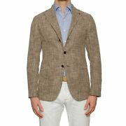 Isaia Augus Brown Basket Weave Cotton-linen-silk Unlined Jacket 50 New Us 40