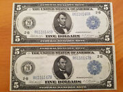 2 Consecutive Series 1914 5 Federal Reserve Notes - Blue Seal - Good Condition