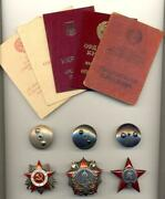 Soviet Russian Ussr Documented Group With Order Of Nevsky