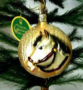 Ingeand039s Christmas Heirlooms Disk W Horse Head Blown Glass Tree Ornament Germany