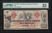 Us Csa T-22 1861 10 Confederate Currency Pmg 25 206