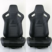 2x Tanaka Universal Premium Black Carbon Mix Pvc Leather Reclinable Racing Seats