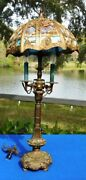 Antique Ornate Bronze/brass Lamp With Leaded Slag Glass Shade Victorian Art Nouv