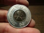 Good Luck 1948-s Encased Wheat Penny - First Ntl Bank Of York Pa - Sept 10,1949