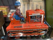Vintage Battery Operated Large Japan Tin Metal Intercontinental Tractor Toy W/dr