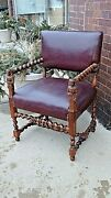 Victorian Antique Carved Lady And Rose Motif Barley Twist William And Mary Arm Chair