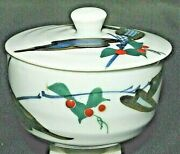 Occupied Japan Omoto Lidded Tea Cup Sacred Lily Red Berries Plant Blue Leaves
