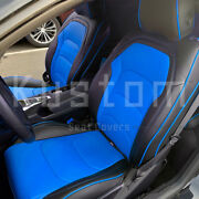 For 16-up Camaro Coupe | Custom Fit Black Blue Interior Leather Seat Covers