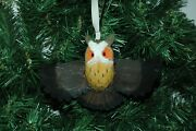 Hand Carved Wooden Owl Christmas Ornament