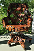 Beautiful And Unique Burl Wood Swivel Arm Chair