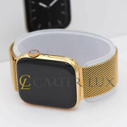41mm Apple Watch Series 7 Custom 18k Gold Plated,stainless Steel Case, Milanese