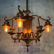Original Arts And Craft 1910and039s Brass Gas / Electric Gasolier Chandelier. L@@k