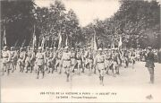 Postcard Post Wwi Victory Parade Paris France Marching French Soldiers 1919 F4