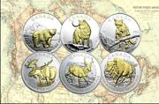 Canada 2011 - 2013 1 Oz Silver Canadian Wildlife Gilded Series Complete Set