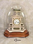 French Onyx Clock Bell Chime Runs Brass Green Colored Trim Glass Dome And Base