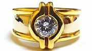 0.70ct 18k Yellow Gold Antique Style F Color Si1 Clarity Diamond Engagement Ring