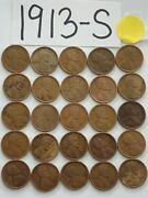 1913-s Cent Half Roll Solid Date =25 Lincoln Wheat Pennies 8 Items Ship Free