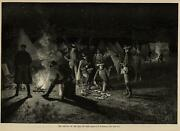 War Camp American Soldiers Night Fire Scene Mail 1889 Harperand039s Weekly Print