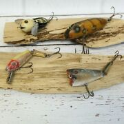 Lot Of 4 Vintage Fishing Lures Heddon Lands South Bend Rare Tackle Box Find