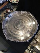 20 Antique Barker Ellis Silver Plate Footed Serving Tray