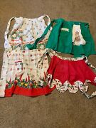 Vintage Lot Of 4 Christmas Holiday Kitchen Cooking Aprons Bells