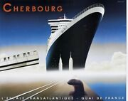 Vtg Razzia Signed Cherbourg Queen Mary Ii Poster Deco Framed New York 55.5x47andrdquo