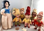 15 Antique American Composition Disney's Snow White And The 7 Drawfs Dolls Rare