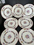 Copeland Spode Nigel Floral Hand Tinted 10.5 Dinner Plates Clean Set Of 7