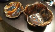 Set Of Two Hilborn Canadian Art Pottery Bowls Brown Amber Signed Canada