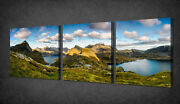 Norway Mountains Lake Set Of 3 Canvas Picture Print Wall Art Free Fast Delivery