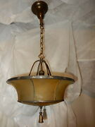 Leaded And Copper Foiled Arts And Crafts Ceiling Fixture W/ Amber Art Glass Shade