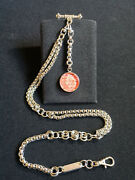 Single Albert Pocket Watch Chain And 1937 King George Vi Postage Stamp Fob