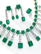Green Emerald 925 Sterling Silver Set Of Necklace With Matching Earrings And Ring