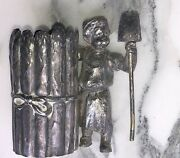 Antique Wmf Toothpick Holder In Plated Metalboy With Shovel