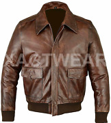 A2 Flight Pilot Bomber Wwii Brown Stylish Mens Real Leather Jacket - All Sizes